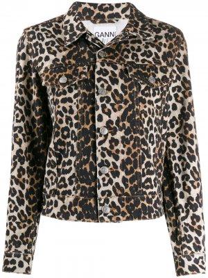 Джинсовая куртка с леопардовым принтом GANNI. Цвет: коричневый