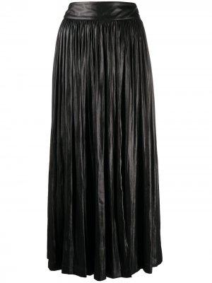 Плиссированная юбка миди Alysi. Цвет: черный