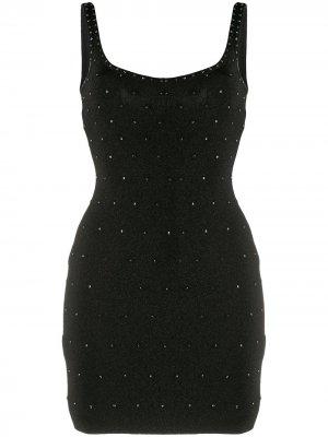 Приталенное коктейльное платье с кристаллами Swarovski Hervé Léger. Цвет: черный