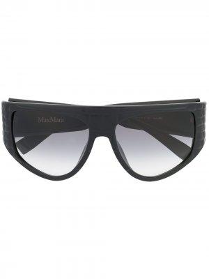 Массивные солнцезащитные очки в D-образной оправе Max Mara. Цвет: черный