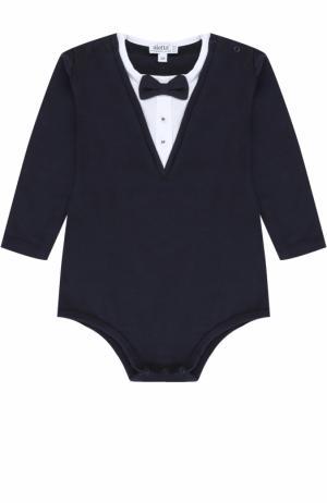Хлопковое боди с контрастной отделкой и декоративным галстуком-бабочкой Aletta. Цвет: синий