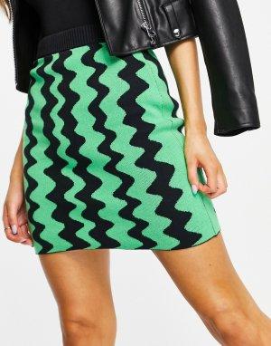 Разноцветная трикотажная мини-юбка с волнистым узором (от комплекта) Boya-Разноцветный Monki