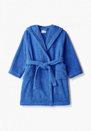 Халат домашний Cleanelly Dinamica. Цвет: синий