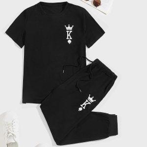Мужской буква и с принтом короны Футболка & на кулиске Спортивные брюки SHEIN. Цвет: чёрный