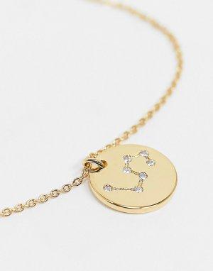Позолоченное ожерелье с гравировкой знака льва на подвеске Z for -Золотистый Accessorize