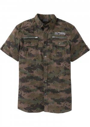 Рубашка с коротким рукавом bonprix. Цвет: зеленый