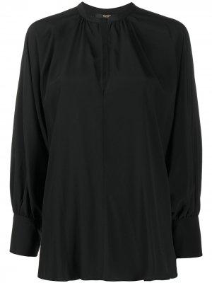 Блузка с V-образным вырезом и длинными рукавами Seventy. Цвет: черный