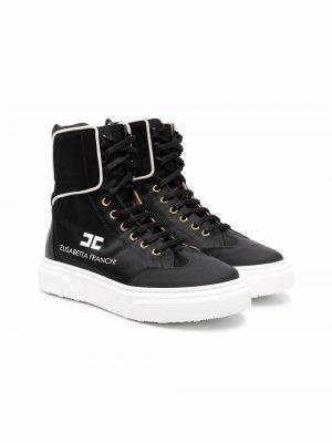 Logo-print high-top sneakers Elisabetta Franchi La Mia Bambina. Цвет: черный