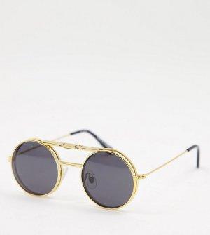 Золотистые солнцезащитные очки в стиле унисекс с черными стеклами Lennon Flip – эксклюзивно для ASOS-Золотистый Spitfire