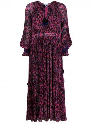 Плиссированное платье макси Nemea с цветочным принтом Derek Lam 10 Crosby. Цвет: розовый