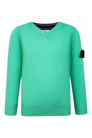 Зеленый пуловер с нашивкой Stone Island Kids. Цвет: зеленый