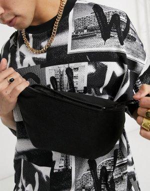 Флисовая сумка-кошелек на пояс черного цвета -Черный цвет ASOS DESIGN
