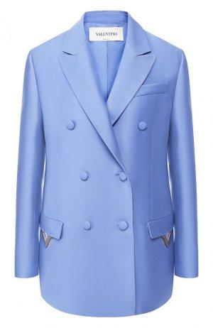 Жакет из смеси шерсти и шелка Valentino. Цвет: голубой