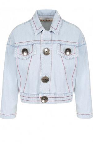 Джинсовая куртка с контрастной прострочкой Marni. Цвет: голубой