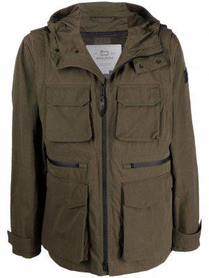 Куртка на молнии с капюшоном Woolrich Kids. Цвет: зеленый