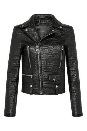 Черная кожаная куртка с декоративной строчкой Philipp Plein. Цвет: черный