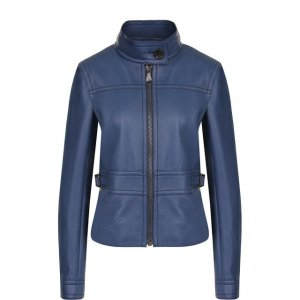 Приталенная кожаная куртка с воротником-стойкой Bottega Veneta. Цвет: синий