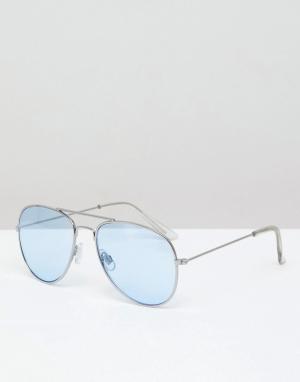 Солнцезащитные очки-авиаторы с серебристой оправой и синими стеклами Pull&Bear. Цвет: серебряный