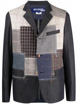 Однобортный пиджак в технике пэчворк Junya Watanabe MAN. Цвет: синий
