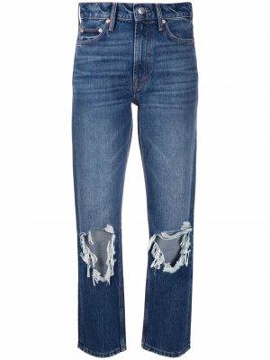 Укороченные джинсы с эффектом потертости Maje. Цвет: синий