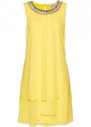 Коктейльное платье класса ПРЕМИУМ bonprix. Цвет: желтый