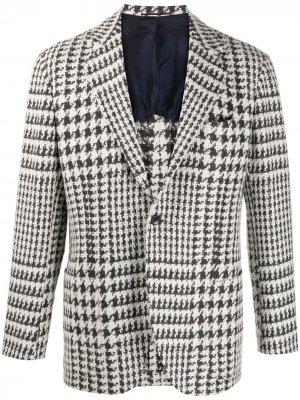 Пиджак в ломаную клетку Kiton. Цвет: белый
