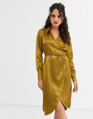 Платье с запахом и большим воротником Unique21-Зеленый UNIQUE21