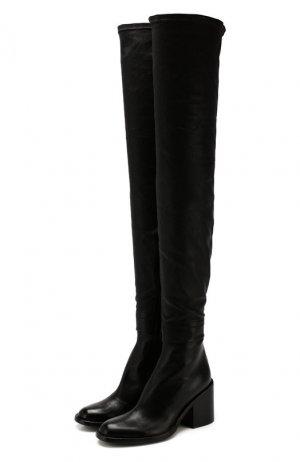 Кожаные ботфорты Ann Demeulemeester. Цвет: чёрный
