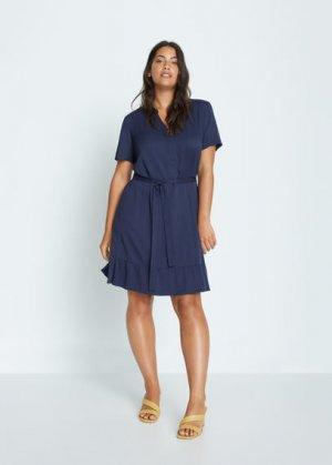 Короткое струящееся платье - Clarita7 Mango. Цвет: темно-синий