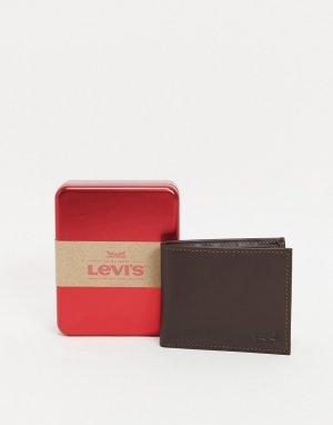 Коричневый кожаный бумажник с логотипом Levis-Коричневый цвет Levi's