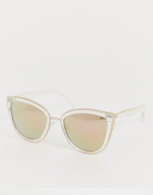 Большие прозрачные солнцезащитные очки кошачий глаз AJ Morgan. Цвет: очистить