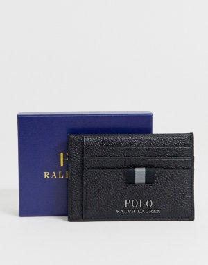 Черная кожаная визитница с зажимом для банкнот -Черный Polo Ralph Lauren