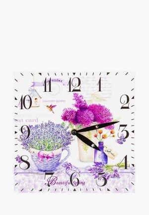 Часы настенные Elan Gallery Лаванда, 25*25 см. Цвет: белый