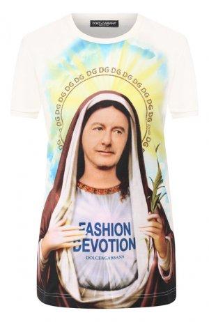 Хлопковая футболка Dolce & Gabbana. Цвет: разноцветный