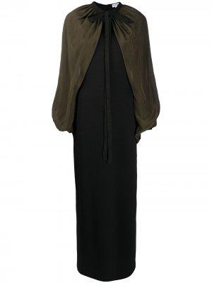 Двухцветное платье с рукавами-кап LOEWE. Цвет: черный