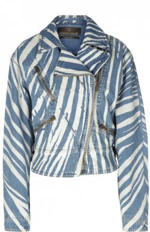 Принтованная джинсовая куртка с косой молнией Roberto Cavalli. Цвет: синий