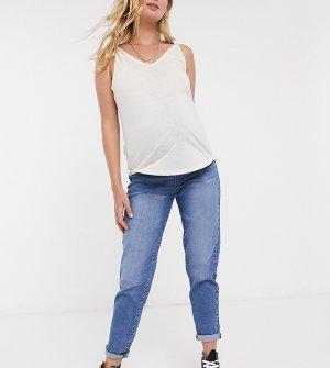 Темно-выбеленные джинсы в винтажном стиле -Синий Urban Bliss Maternity