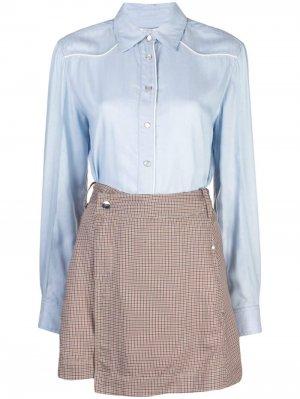 Платье рубашка с контрастной юбкой из твила Derek Lam 10 Crosby. Цвет: синий