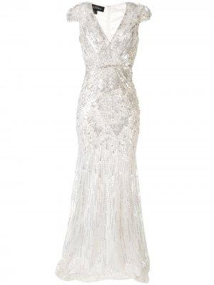 Платье макси с вышивкой Jenny Packham. Цвет: белый