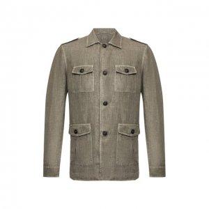 Льняной пиджак Gran Sasso. Цвет: хаки