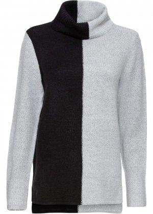 Пуловер с воротником гольф bonprix. Цвет: серый