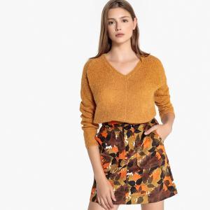 Пуловер из плотного трикотажа с V-образным вырезом MOBERTS SUD EXPRESS. Цвет: малиновый