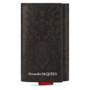 Кожаный футляр для ключей Alexander McQueen. Цвет: хаки