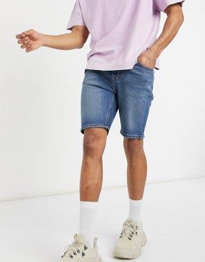 Темно-синие джинсовые шорты скинни -Голубой ASOS DESIGN