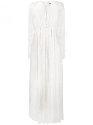 Удлиненное платье с кружевными вставками ANIYE BY. Цвет: белый