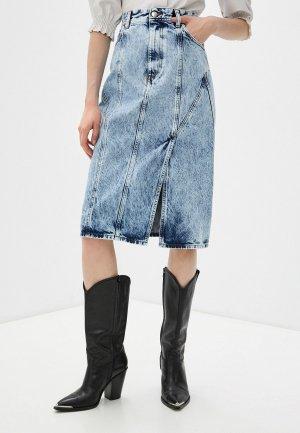 Юбка джинсовая Iro. Цвет: голубой
