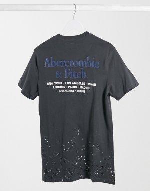 Черная футболка с принтом и логотипом на спине -Черный Abercrombie & Fitch