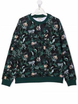 Embroidered-logo graphic sweatshirt Kenzo Kids. Цвет: зеленый