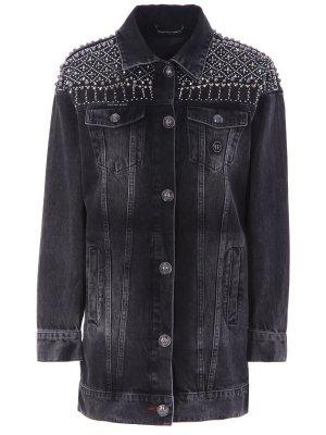 Куртка джинсовая с принтом Philipp Plein. Цвет: разноцветный