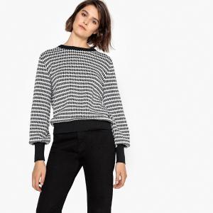 Пуловер из хлопка с рисунком в ломаную клетку LA REDOUTE COLLECTIONS. Цвет: черный/ белый